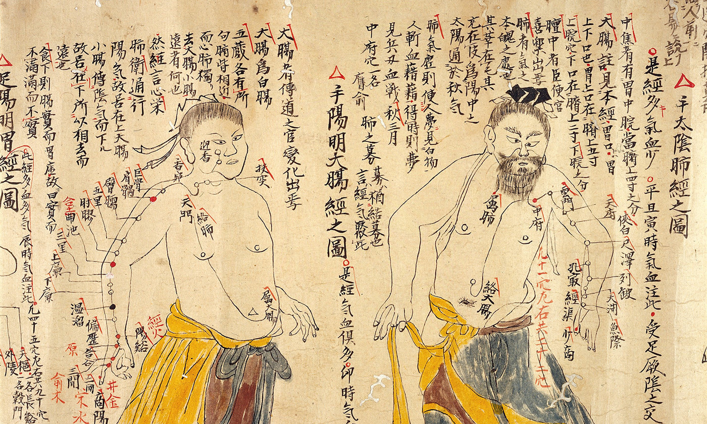 <p>Detail from an 18th-century Chinese depiction of the various acupuncture points. <em>Photo courtesy Wellcome Images</em></p>