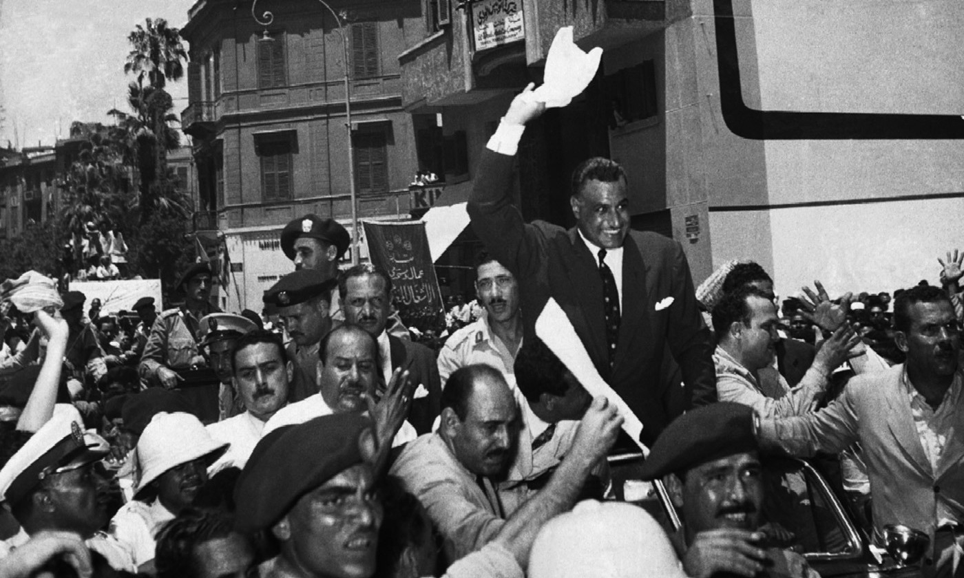 Nasser cheered by supporters in Cairo, 1956. <em>Photo courtesy Wikipedia</em>