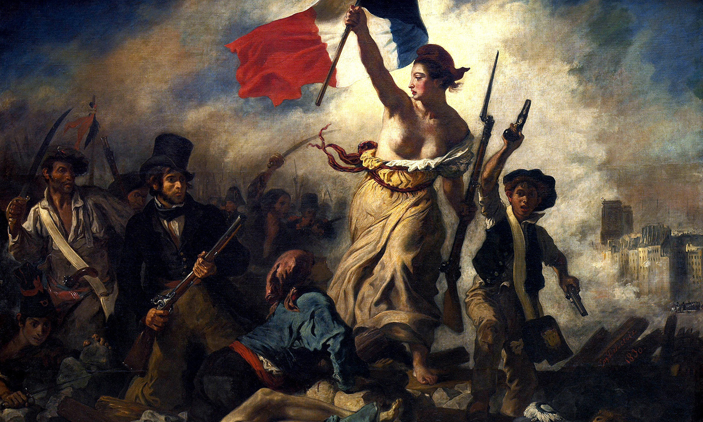 <em>La Liberté guidant le peuple (Liberty guiding the people)</em> by Eugene Delacroix (1830). <em>Photo courtesy Musée du Louvre/Wikipedia</em>
