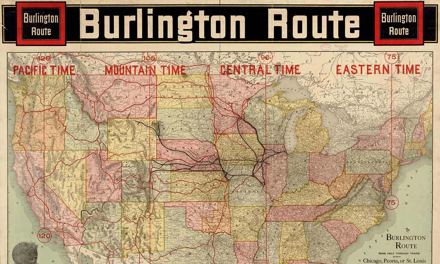 <p>Map issued in 1892 by the Passenger Department of the Chicago, Burlington and Quincy Railroad.<em> Courtesy Wikipedia</em></p>