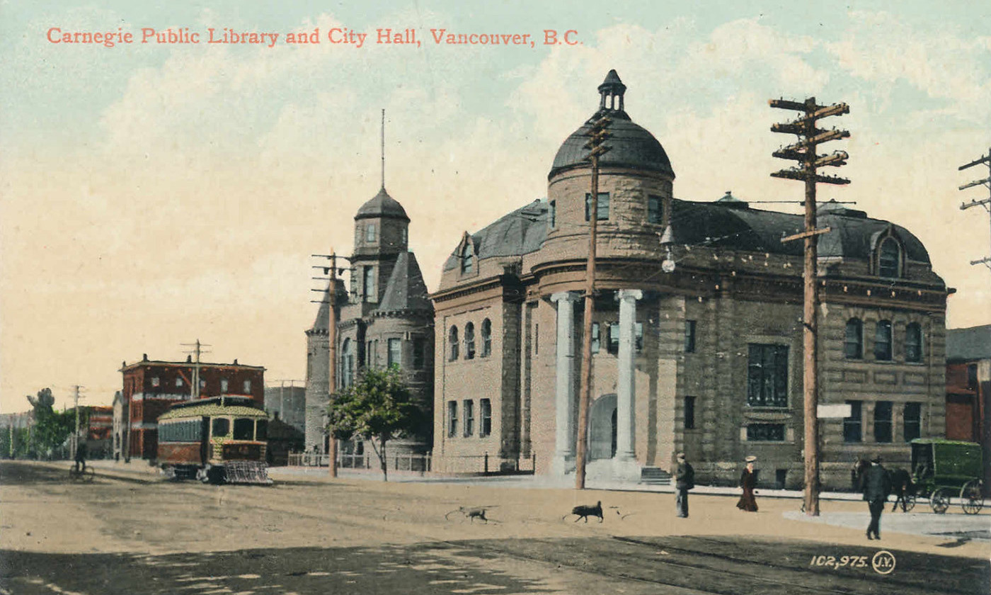 Postcard of the Carnegie Library in Vancouver BC, <em>c</em>1905, funded by a bequest from the American philanthropist Andrew Carnegie. <em>Courtesy Rob/Flickr</em>