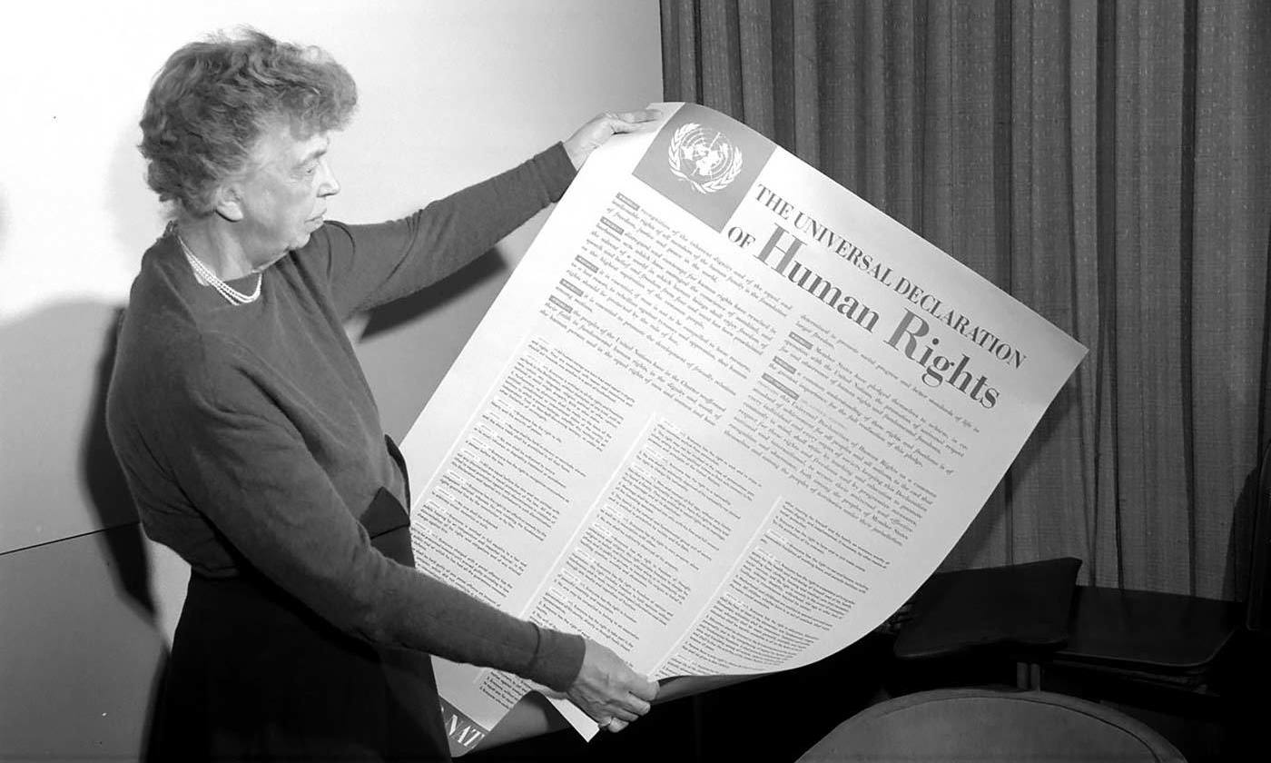 Eleanor Roosevelt was instrumental in drafting <em>The Universal Declaration of Human Rights</em> in 1948. <emCourtesy UN</em>
