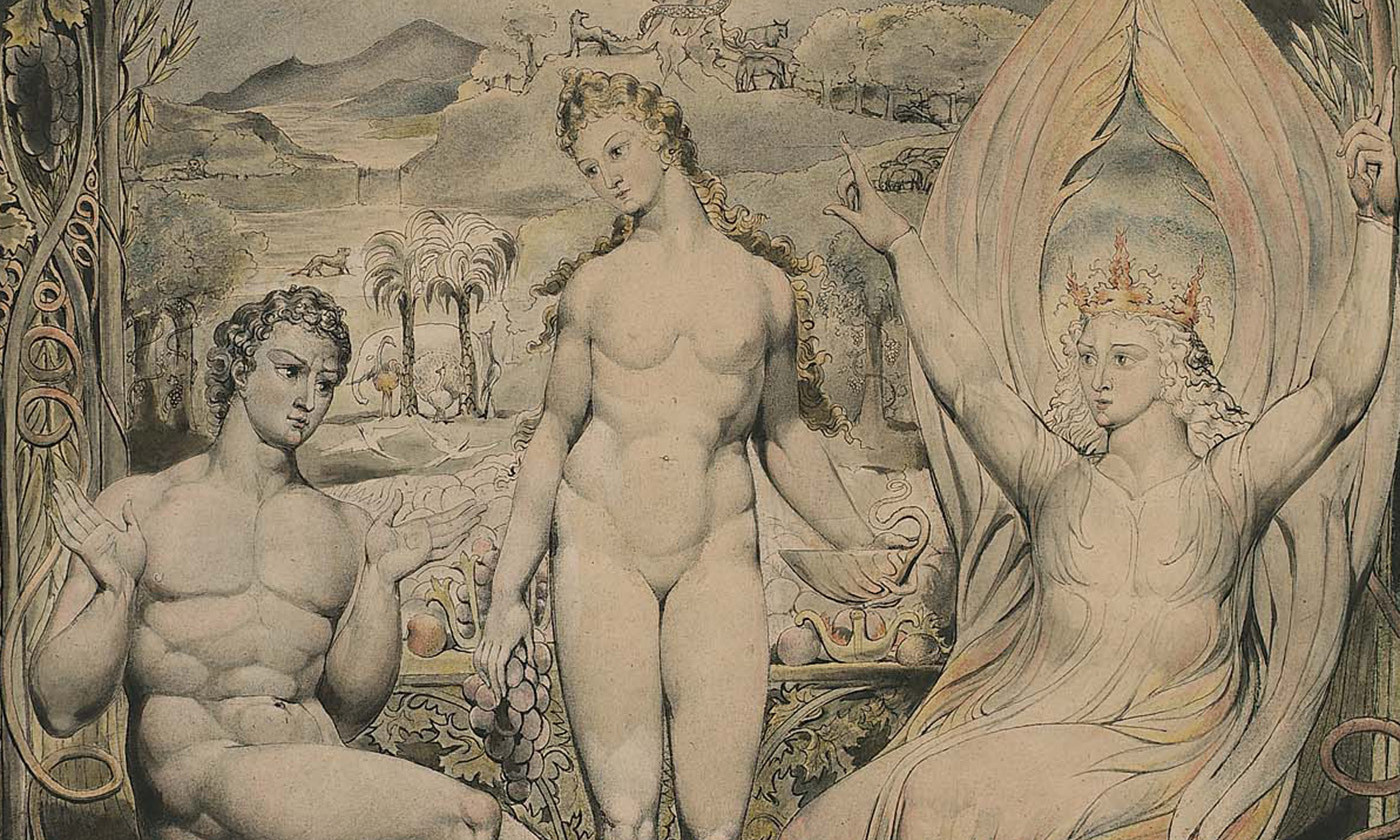 The Archangel Raphael with Adam and Eve (an illustration to Milton's <em>Paradise Lost</em>) by William Blake (1808). <em>Courtesy MFA Boston</em>