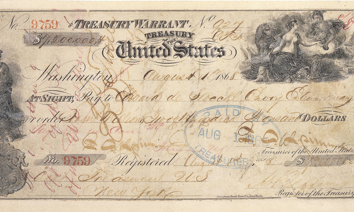 Detail from the 7.2 million dollar check used to purchase Alaska in 1867. <em>Courtesy Wikipedia</em>