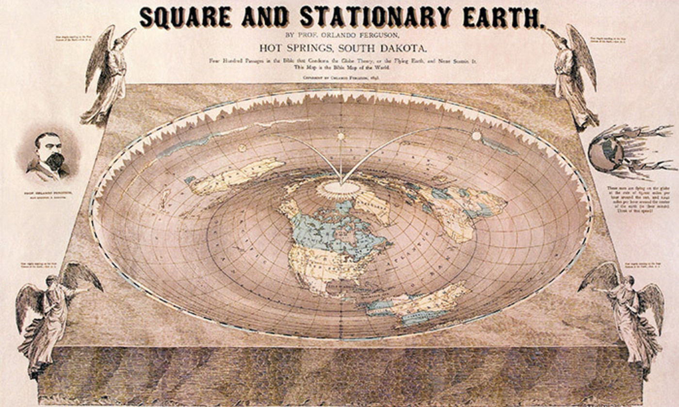 <p><em>A Map of the Square and Stationary Earth</em> by Professor Orlando Ferguson, South Dakota, 1893. <em>Photo courtesy Wikipedia</em></p>