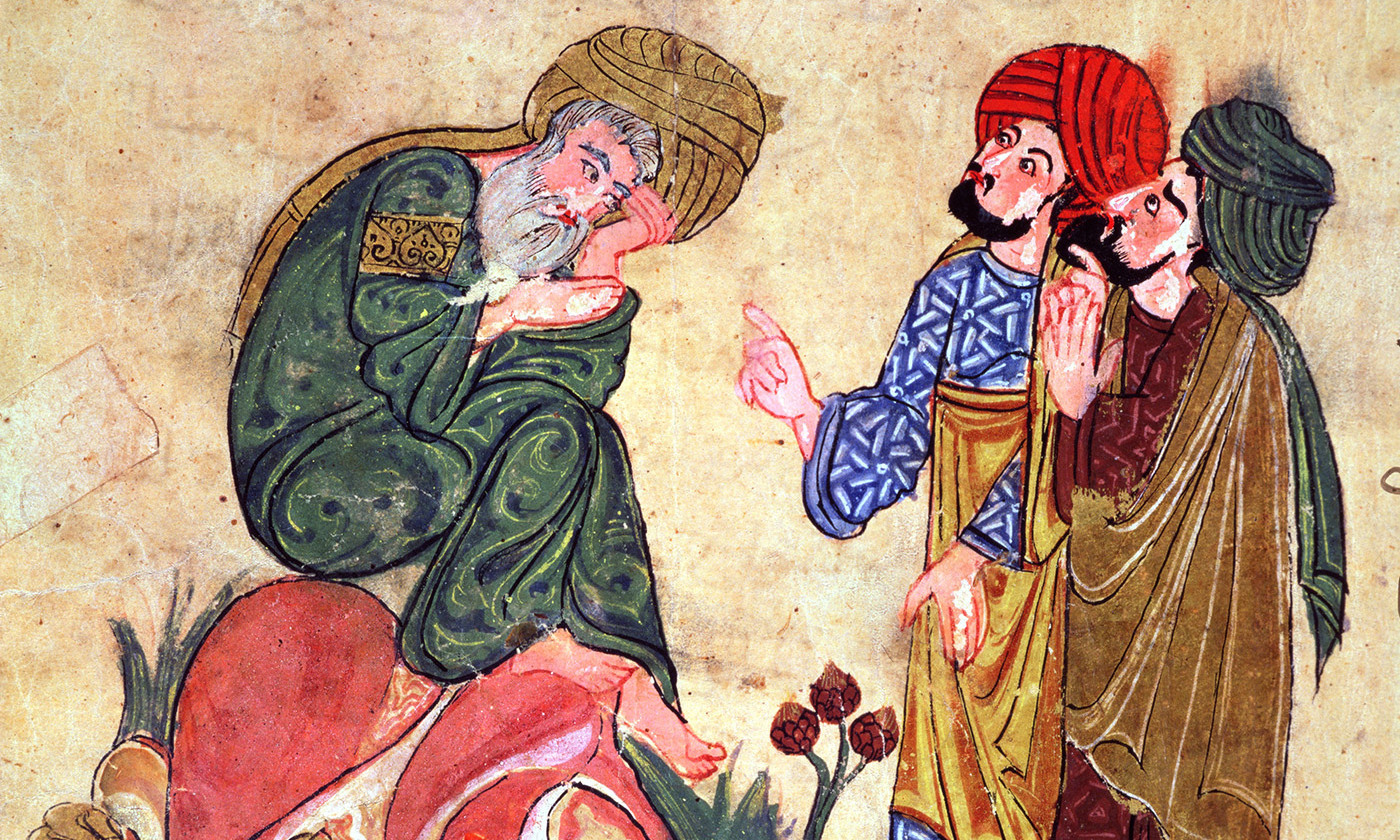 <p>Socrates and his Students, illustration from 'Kitab Mukhtar al-Hikam wa-Mahasin al-Kilam' by Al-Mubashir, Turkish School, (13th c) <em>Photo by Bridgeman</em></p>