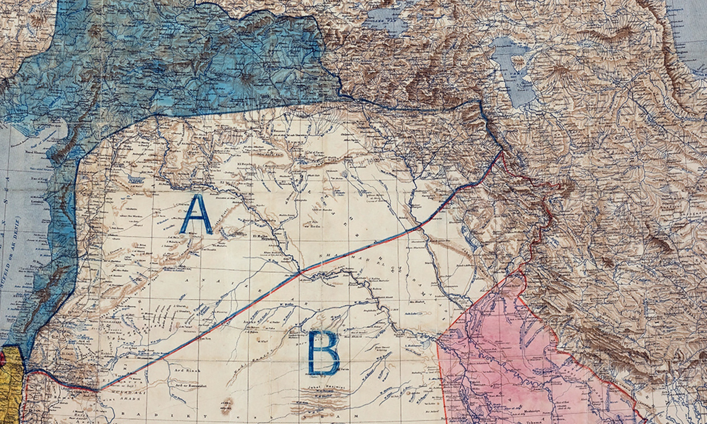 <p>Map of the Sykes-Picot Agreement, May, 1916/Wikimedia</p>