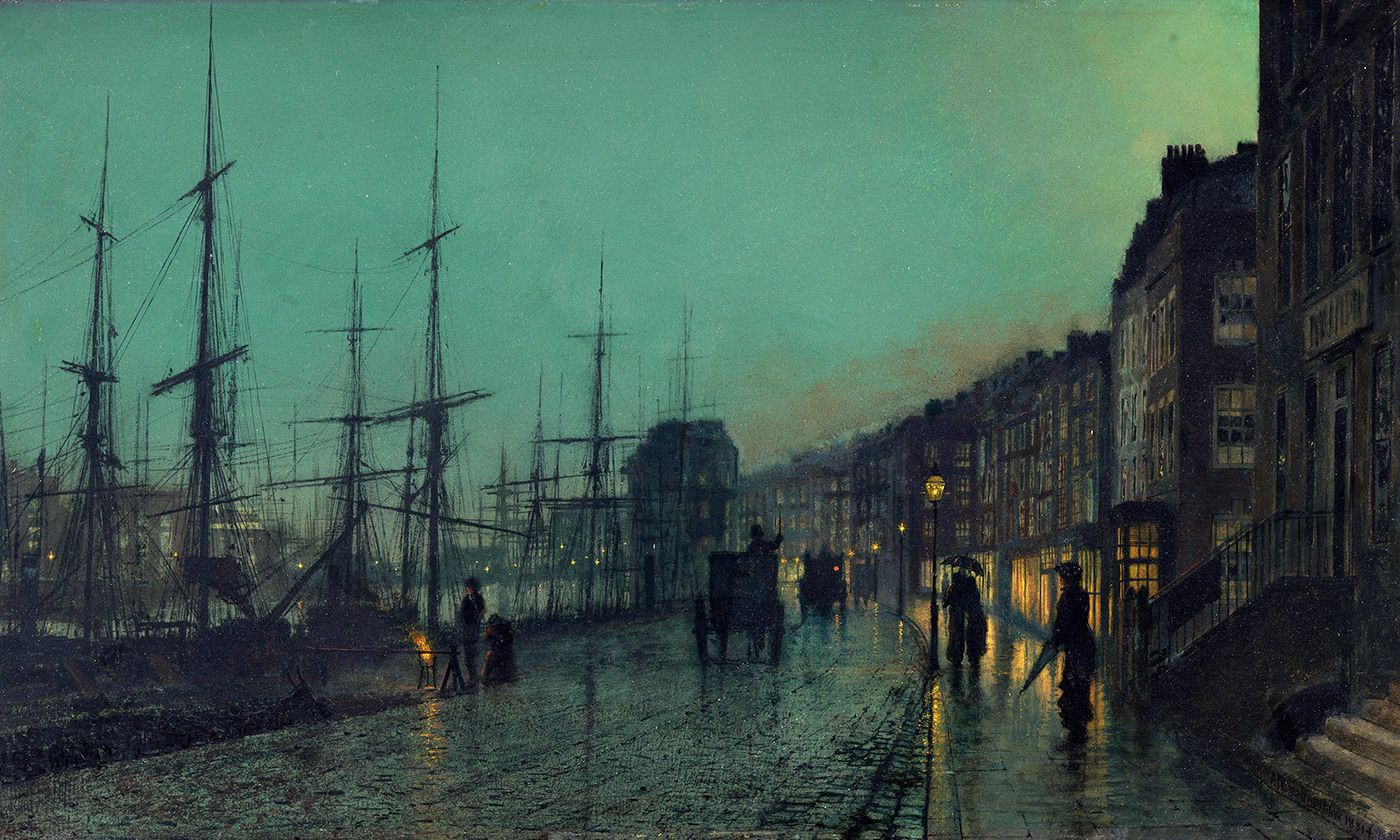 <p><em>Shipping on the Clyde, Glasgow</em> (1881), by John Atkinson Grimshaw. <em>Courtesy Wikimedia</em></p>