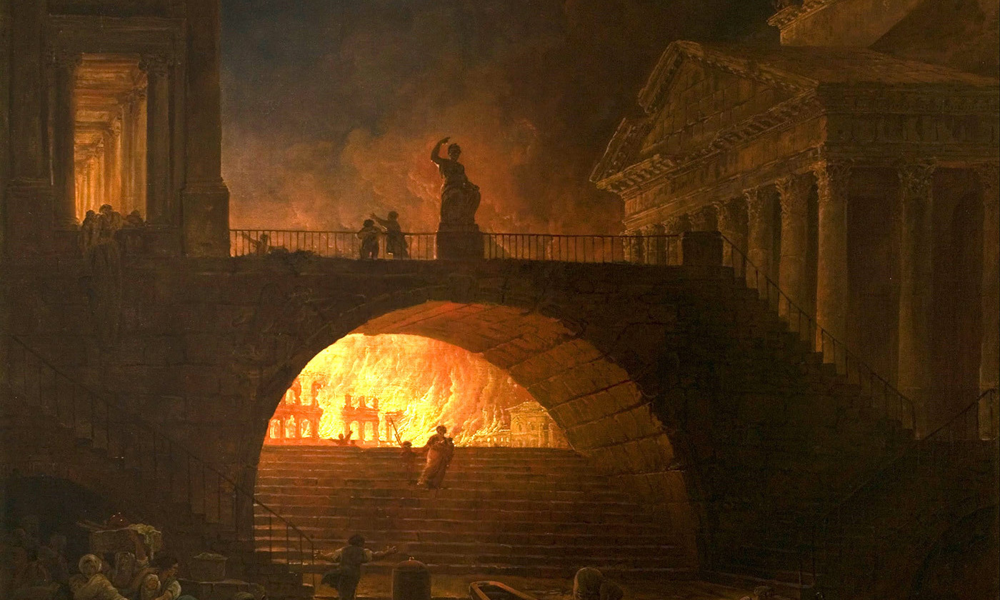 <p><em>The Fire of Rome</em> by Hubert Robert, <em>c</em>1771. <em>Courtesy Musée d'Art Moderne André Malraux, Le Havre</em></p>