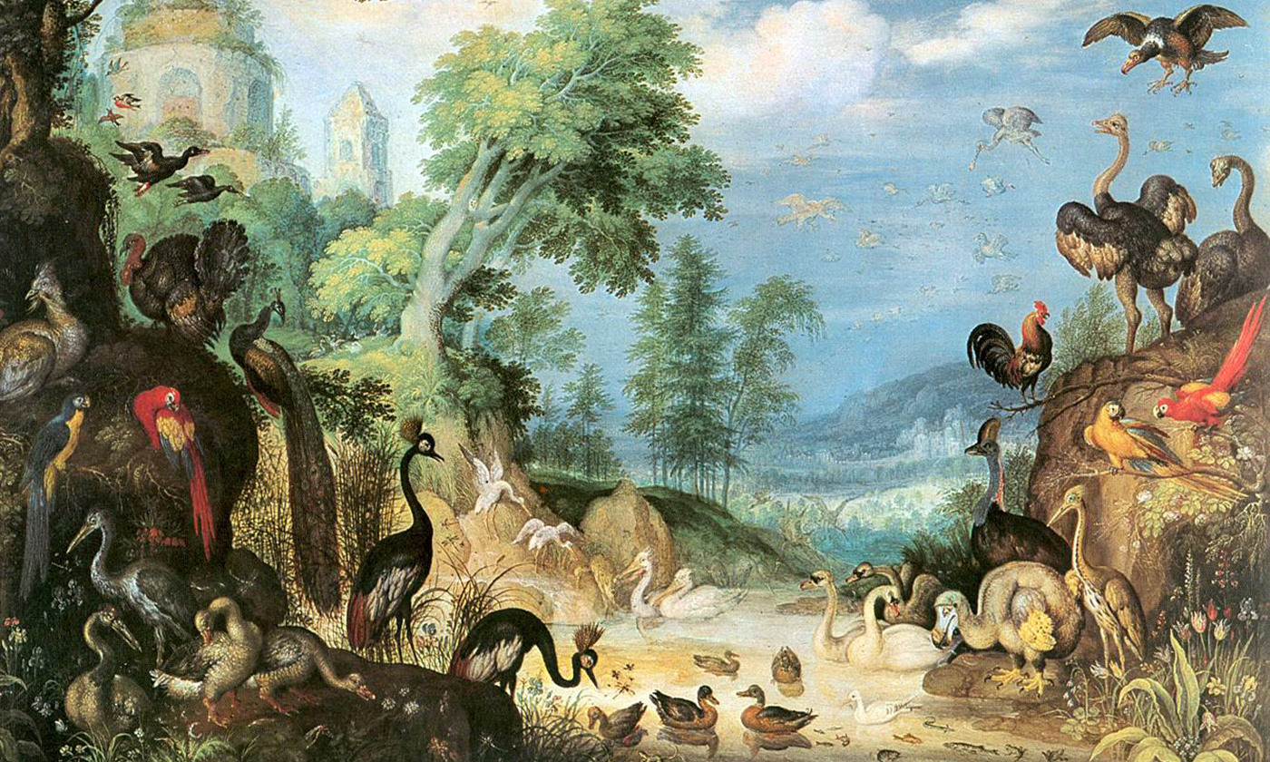 <em>Landscape with Birds</em>,  (showing a dodo in the lower right corner) by Roelant Savery, 1628. <em>Courtesy Wikimedia</em>