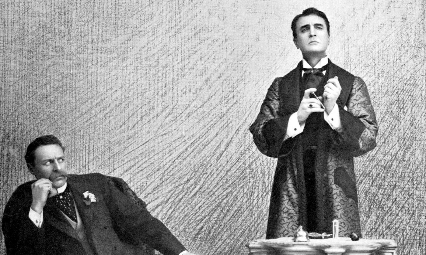 <p>Suspicious minds; William Gillette as Sherlock Holmes (right) and Bruce McRae as Dr John Watson in the play <em>Sherlock Holmes</em> (<em>c</em>1900). <em>Courtesy Wikimedia</em></p>