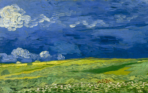 Card essay vincent van gogh   wheatfield under thunderclouds   vgm f778