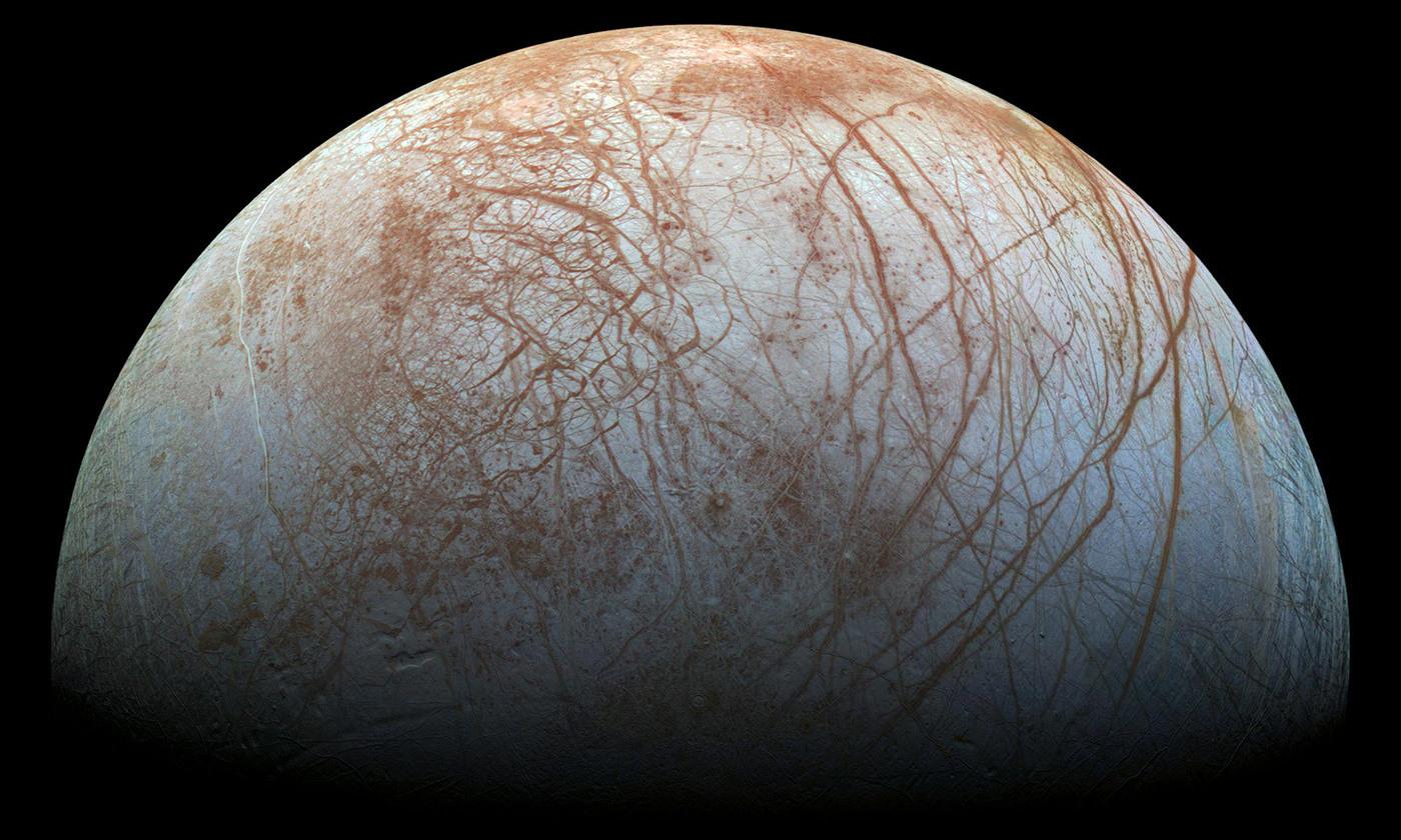 Jupiter's moon, Europa, is believed to conceal a buried ocean. <em>Photo NASA/JPL-Caltech/SETI Institute</em>
