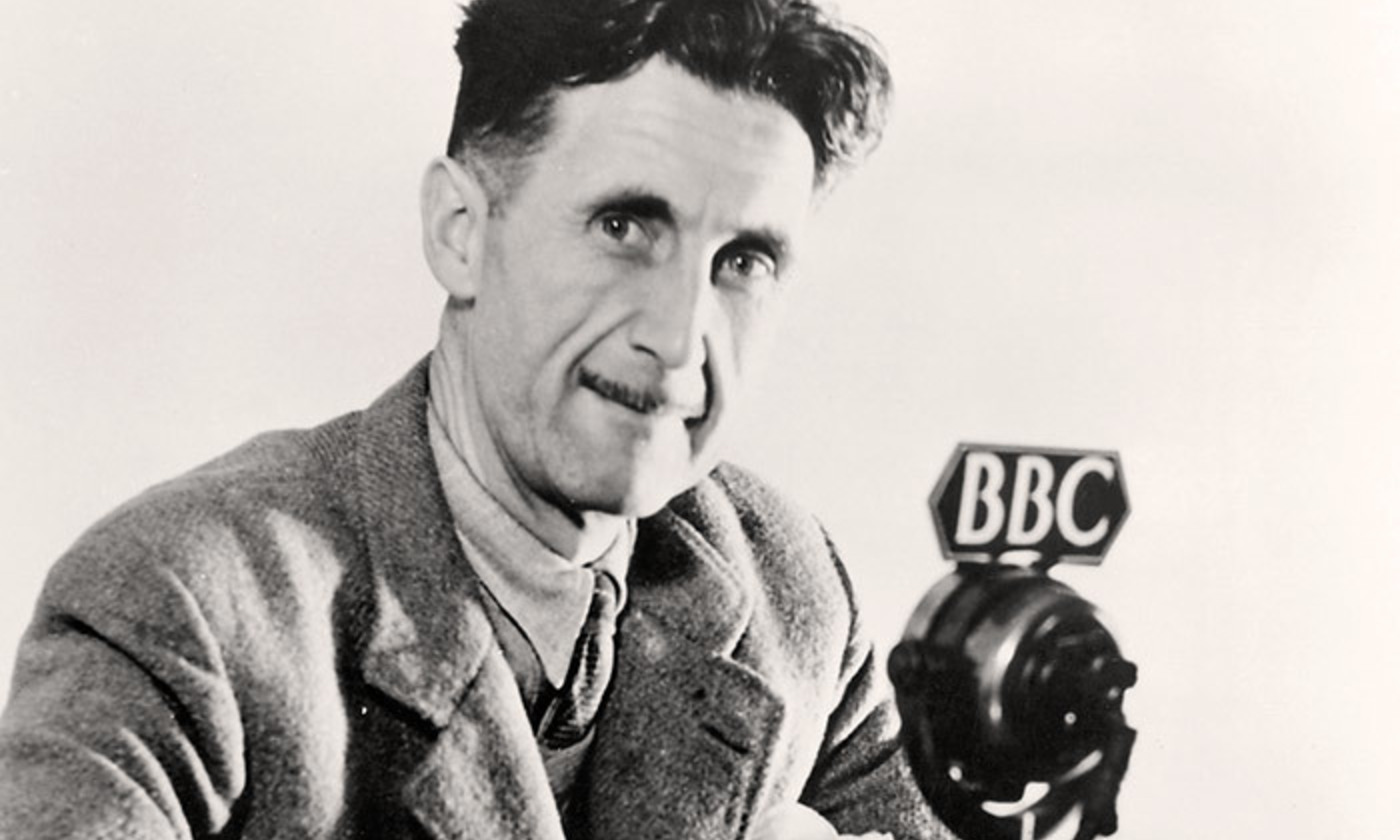 <p>George Orwell presenting wartime radio broadcasts. <em>Photo courtesy BBC</em></p>