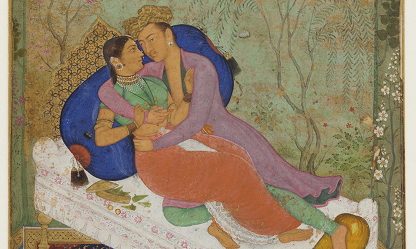 <p>Lovers, Mughal dynasty <em>c</em>1597, attributed to Manohar. <em>Courtesy Freer Gallery of Art/Wikipedia</em></p>