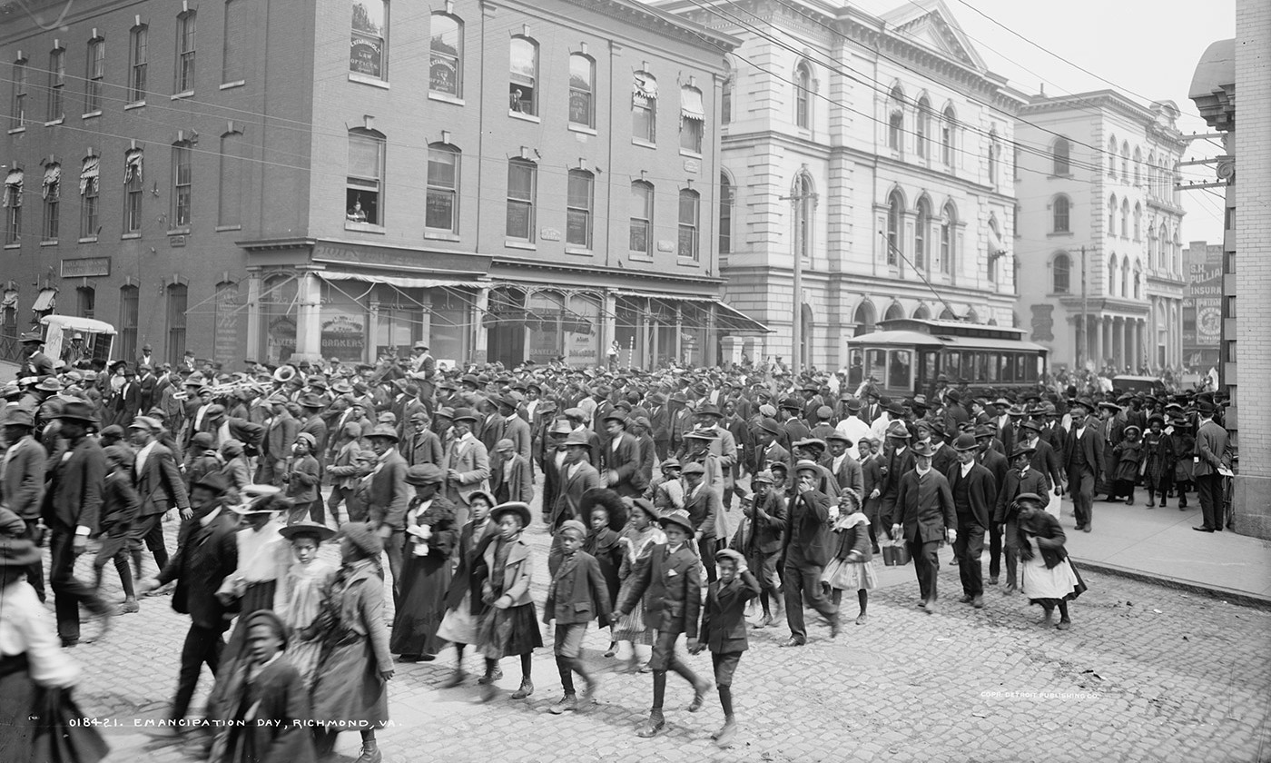 <p>An Emancipation Day parade, Richmond VA. c1905. <em>Library of Congress</em></p>