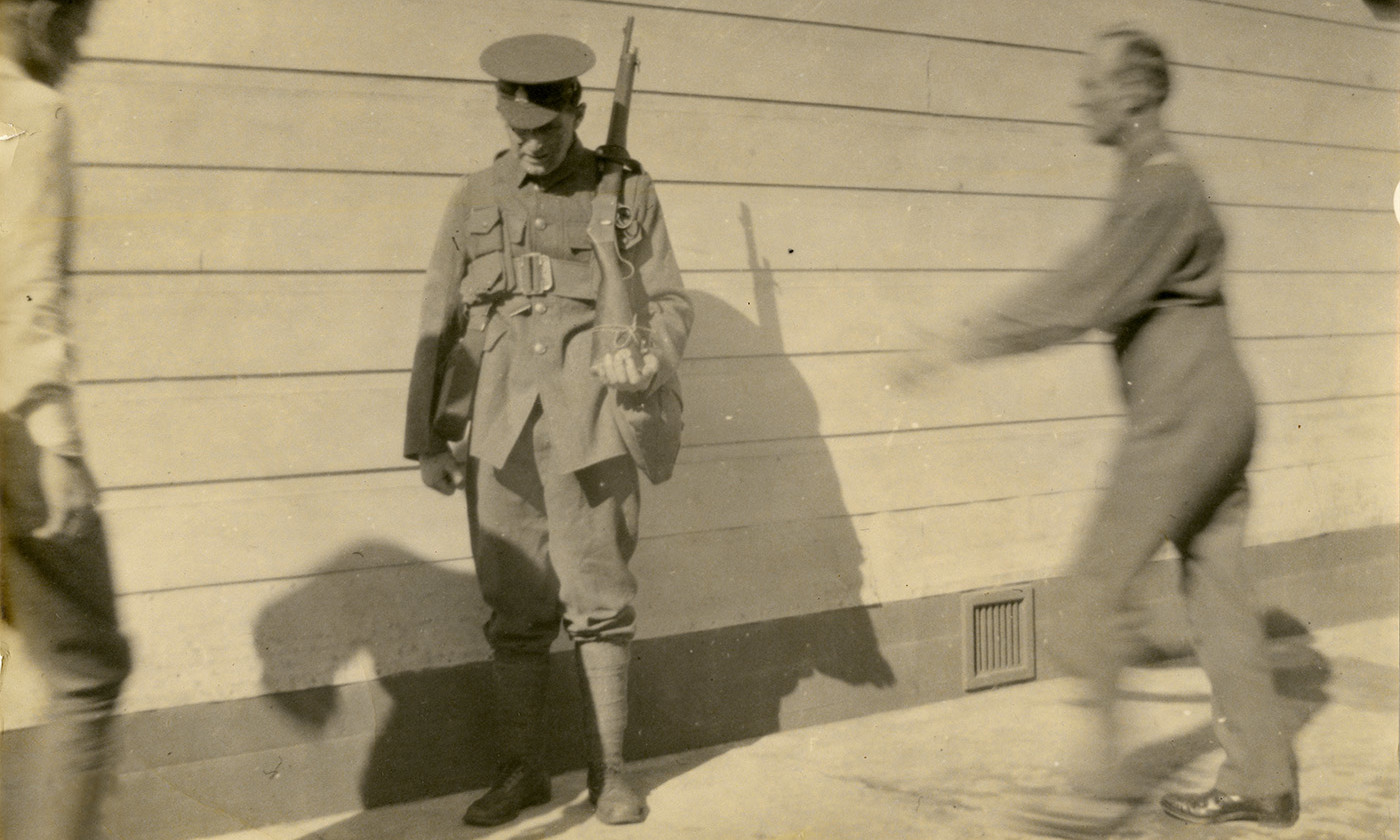 <p>A conscientious objector Thomas Moynihan being abused at Wanganui Detention Barracks New Zealand, 1918. <em>Photo Archives New Zealand/Flickr</em></p>