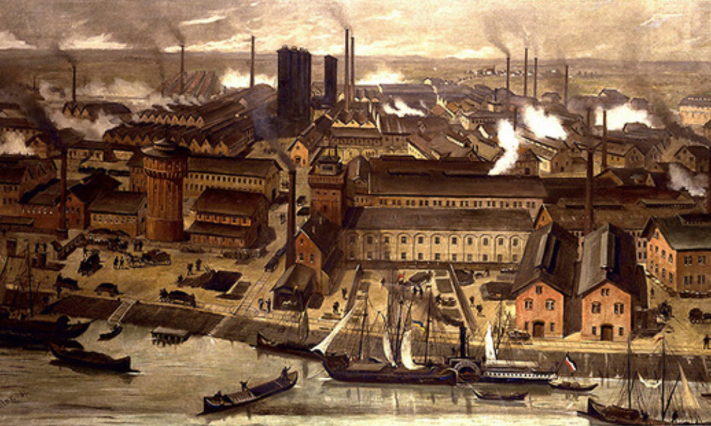 The BASF factory at Ludwigshafen, Germany, pictured on a postcard in 1881. <em>Courtesy Wikipedia</em>