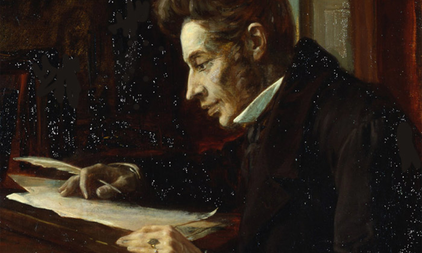 <p><em>Søren Kierkegaard at his high desk</em> (1920) by Luplau Janssen. <em>Courtesy Wikipedia</em></p>