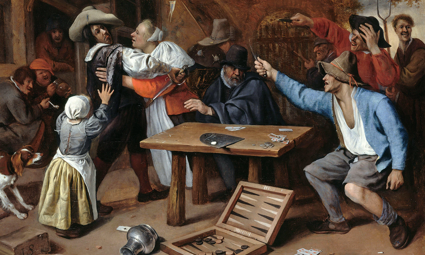 <em>Argument over a Card Game</em> by Jan Steen (1625 -1679). <em>Courtesy Wikipedia</em>