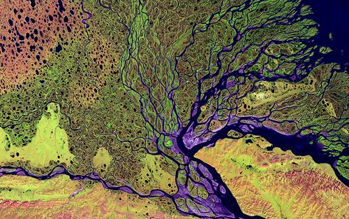 Card landsat nasa lena river delta   landsat 2000