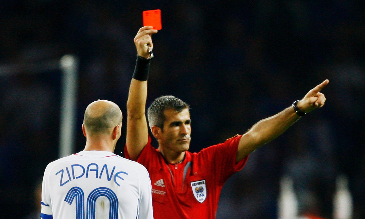 <p>French captain Zinedine Zidane is sent off during the 2006 World Cup final in Germany. <em>Photo by Shaun Botterill/Getty</em></p>