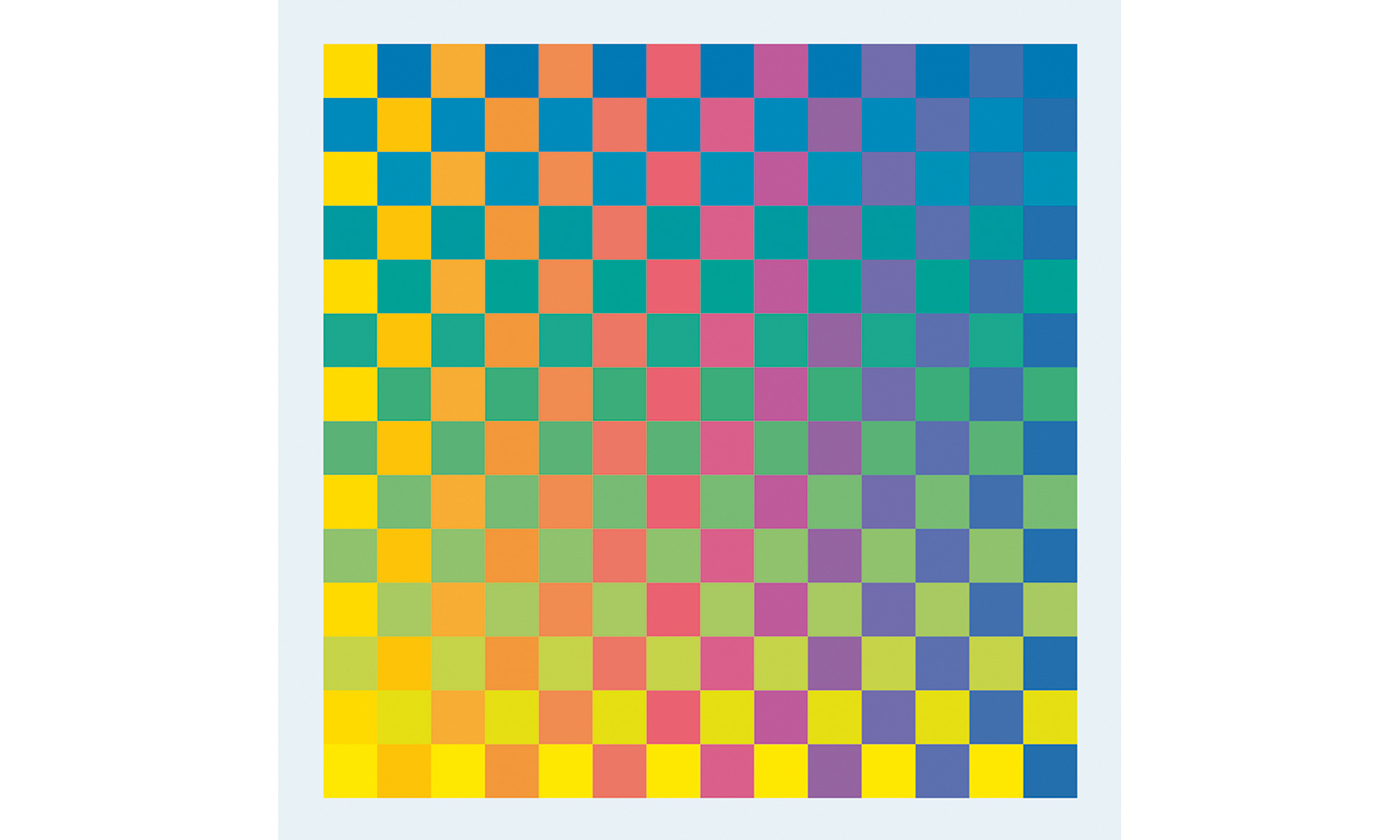 <em>Karl Gerstner, Polychrome of Pure Colors, 1956–58. Printer's ink on cubes of Plexiglas, 1.1/4 × 1 1/4 in. (3 × 3 cm). ea., fixed in a chrome-plated metal frame, 18 7/8 × 18 7/8 in. (48 × 48 cm) ea. Courtesy of the artist.</em>
