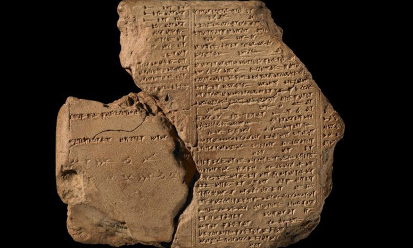 <p>Part of a Neo-Assyrian clay tablet containing three columns of cuneiform inscription from tablet 6 of The Epic of Gilgamesh. <em>Courtesy the Trustees of the British Museum.</em></p>