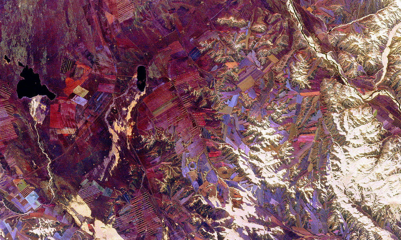<p>Spaceborne Imaging Radar photo of the autonomous republic of Tuva, the subject of Richard Feynmann's intense interest during the latter part of his life and documented in <em>Tuva or Bust! </em>by Ralph Leighton. Photo taken from Space Shuttle Endeavour in 1994.<em> Photo courtesy NASA/JPL</em></p>