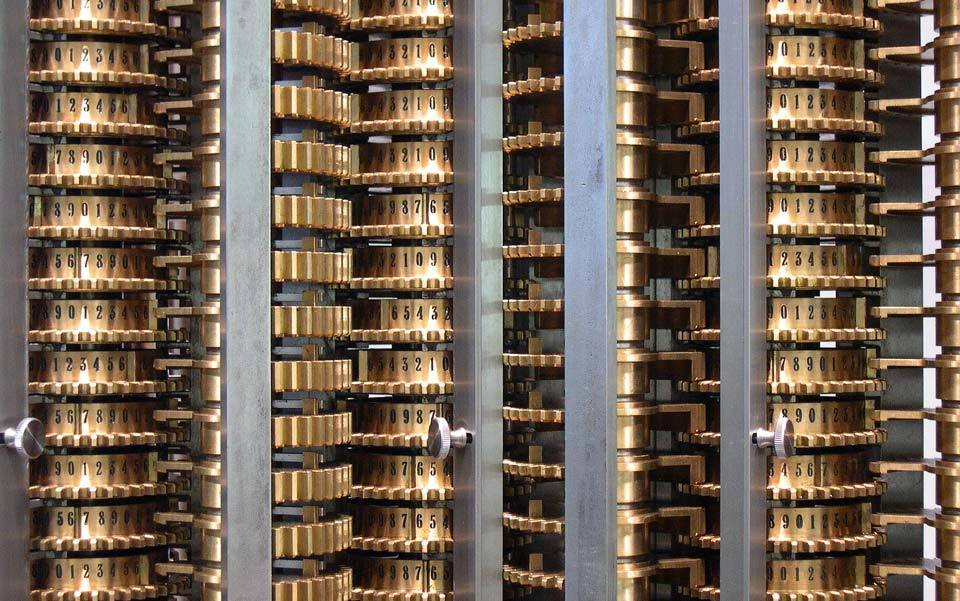 A detail from the replica of Charles Babbage's Difference Engine on display at the Science Museum, London. Courtesy Science Museum