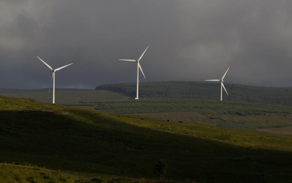 Three beautiful wind turbines